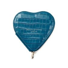 Heart Coin Purse in Deep Shine Topaz Small Croc
