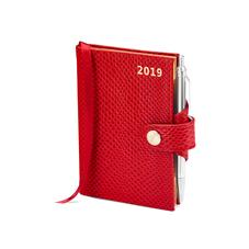 Mini Pocket Leather Diary with Pen in Berry Lizard