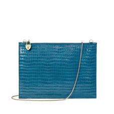 Soho Clutch in Deep Shine Topaz Small Croc