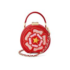 Micro Hat Box in Scarlet Saffiano with Rosette Embroidery