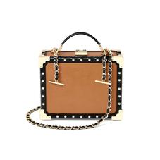 Mini Trunk Clutch in Smooth Tan with Studs