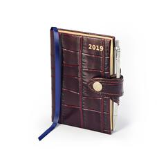 Mini Pocket Leather Diary with Pen in Deep Shine Amazon Brown Croc
