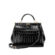 Small Florence Frame Bag in Black Croc