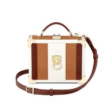 Lion Mini Trunk Clutch in Smooth Tan, Ivory & Redwood