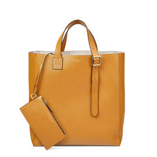 The 'A' Tote in Mustard Saffiano