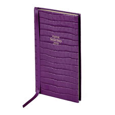 Aspinal Social Diary in Deep Shine Amethyst Small Croc