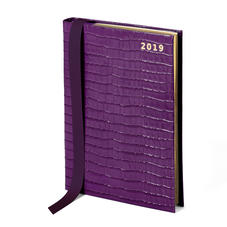 A5 Day to Page Leather Diary in Deep Shine Amethyst Small Croc
