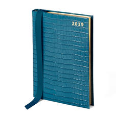 A5 Day to Page Leather Diary in Deep Shine Topaz Small Croc