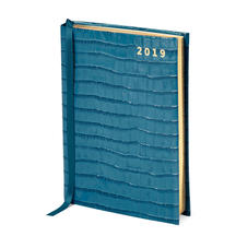 A6 Day to Page Leather Diary in Deep Shine Topaz Small Croc