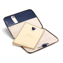 Executive A4 Zipped Padfolio in Navy Lizard & Cream Suede. Leather Portfolios & Padfolios from Aspinal of London
