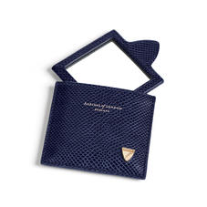 Compact Mirror in Midnight Blue Lizard