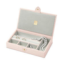 Paris Jewellery Box in Deep Shine Shell Pink Small Croc