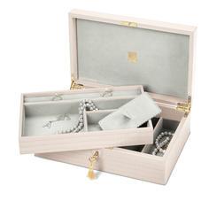 Savoy Jewellery Box in Deep Shine Shell Pink Small Croc