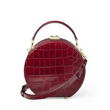 Mini Hat Box Bag in Deep Shine Bordeaux Croc
