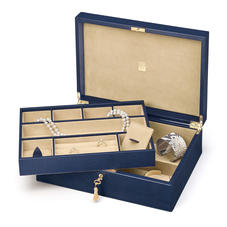 Grand Luxe Jewellery Case in Midnight Blue Lizard