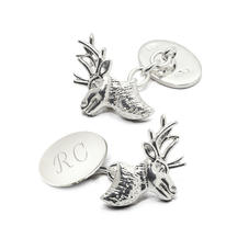 Personalised Sterling Silver Stag Head Cufflinks