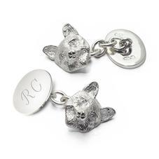 Personalised Sterling Silver Fox Head Cufflinks