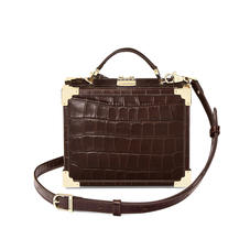 Mini Trunk Clutch in Deep Shine Amazon Brown Croc