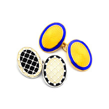 Enamel Cufflinks. Sterling Silver, Gold & Enamel Cufflinks from Aspinal of London