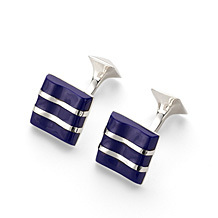 Wave Sterling Silver Cufflinks. Sterling Silver, Gold & Enamel Cufflinks from Aspinal of London