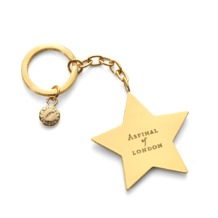 Star Key Ring in Black Glitter. Sale from Aspinal of London