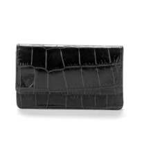 Business & Credit Card Case in Black Croc & Cobalt Suede. Business & Credit Card Holders from Aspinal of London