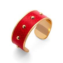 Athena Cuff Bracelet in Red Snakeskin. Cuff Bracelets from Aspinal of London