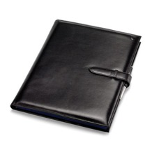 A4 Padfolio in Smooth Black & Cobalt Suede. Leather Portfolios & Padfolios from Aspinal of London