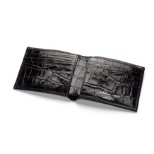 Billfold Wallet in Black Croc & Cobalt Suede. Leather Billfold Wallets from Aspinal of London