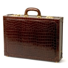 Attache Case in Amazon Brown Croc & Stone Suede. Attache Cases from Aspinal of London