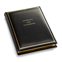 Classic Medium Address Book in Smooth Black. Leather Address Books from Aspinal of London