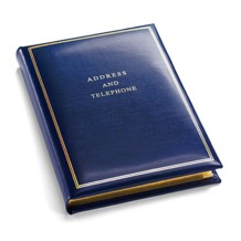 Classic Medium Address Book in Smooth Sapphire Blue. Leather Address Books from Aspinal of London
