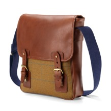 England Small Messenger Bag in Brown Saddle Leather & Tweed. Mens Messenger Bags from Aspinal of London