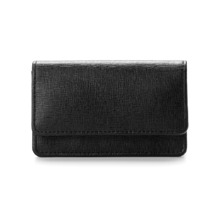 Business & Credit Card Case in Black Saffiano & Black Suede. Business & Credit Card Holders from Aspinal of London