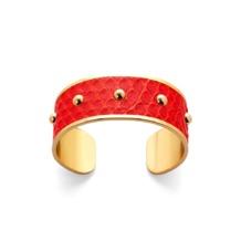 Athena Cuff Bracelet in Poppy Python. Cuff Bracelets from Aspinal of London