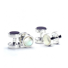 Dress Shirt Studs. Sterling Silver, Gold & Enamel Cufflinks from Aspinal of London