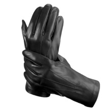 Men's Classic Silk Lined Leather Gloves in Black. Sale from Aspinal of London
