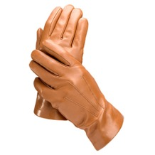 Men's Classic Silk Lined Leather Gloves in Tan. Sale from Aspinal of London