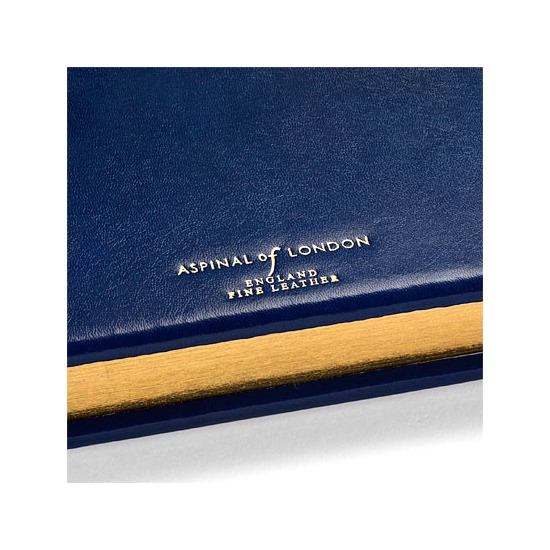 Classic Medium Address Book in Smooth Sapphire Blue from Aspinal of London