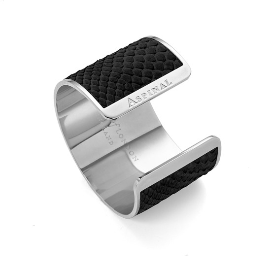Silver Cleopatra Cuff Bracelet in Black Python from Aspinal of London