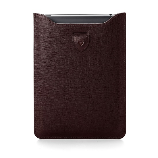 Leather iPad Air Sleeve in Brown Saffiano & Espresso Suede from Aspinal of London