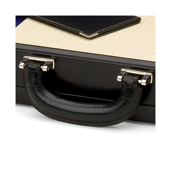 Attache Case in Smooth Black & Cobalt Blue Suede from Aspinal of London