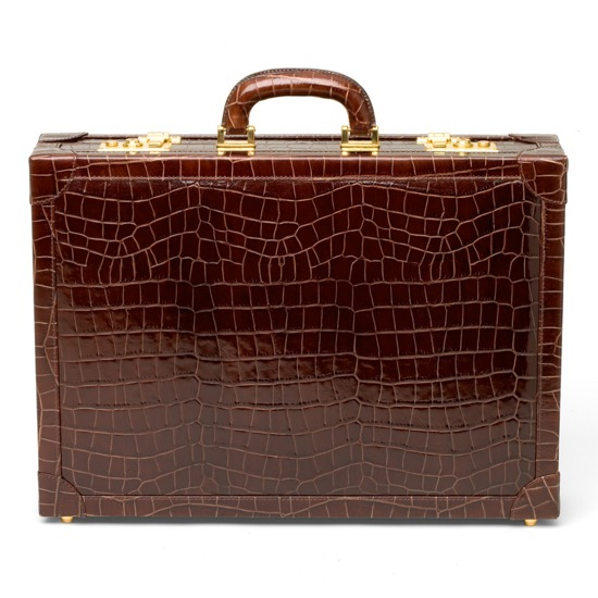 Attache Case in Deep Shine Amazon Brown Croc & Stone Suede from Aspinal of London