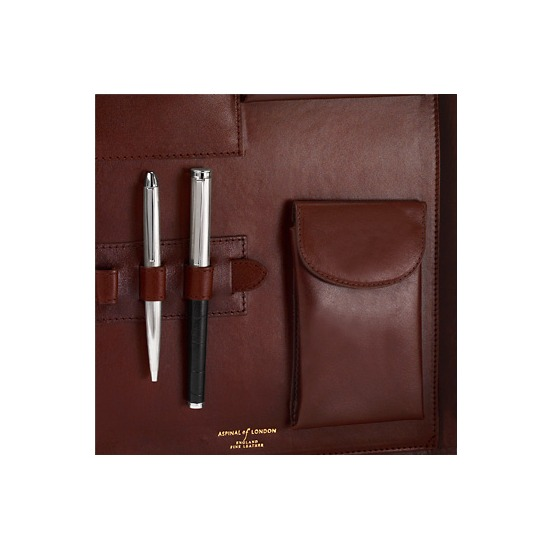 A4 Conference Portfolio in Smooth Cognac & Espresso Suede from Aspinal of London