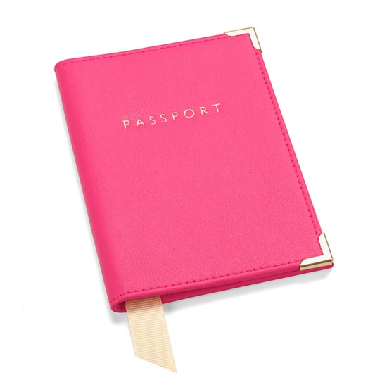 Passport Cover in Smooth Neon Pink from Aspinal of London