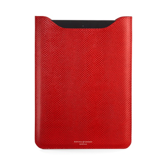 Leather iPad Air Sleeve in Berry Lizard & Cream Suede from Aspinal of London