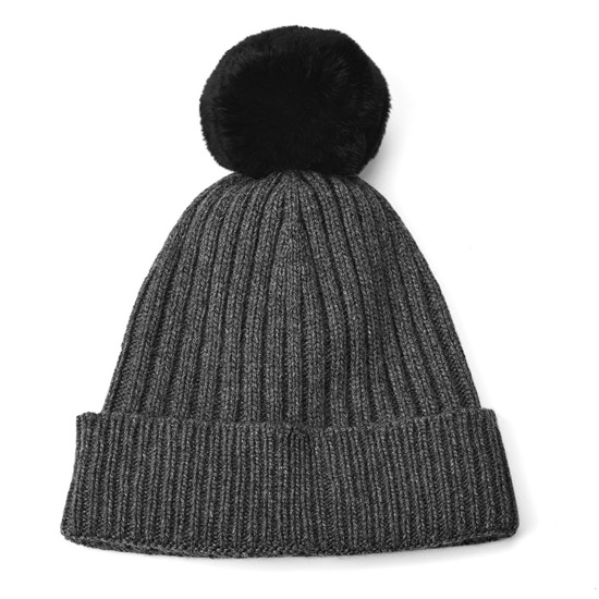 Knitted Cashmere Pom Pom Hat in Charcoal Grey from Aspinal of London