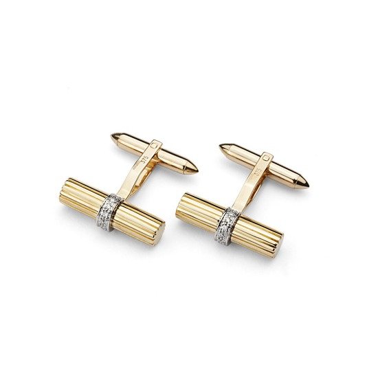 Rifle Barrell Cufflinks Gemset with Cluster Diamonds in 9ct Yellow Gold from Aspinal of London