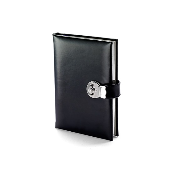 A5 Lockable Leather Journal in Smooth Black from Aspinal of London
