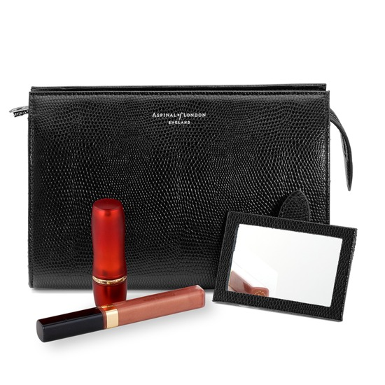 Medium Cosmetic Case in Jet Black Lizard from Aspinal of London
